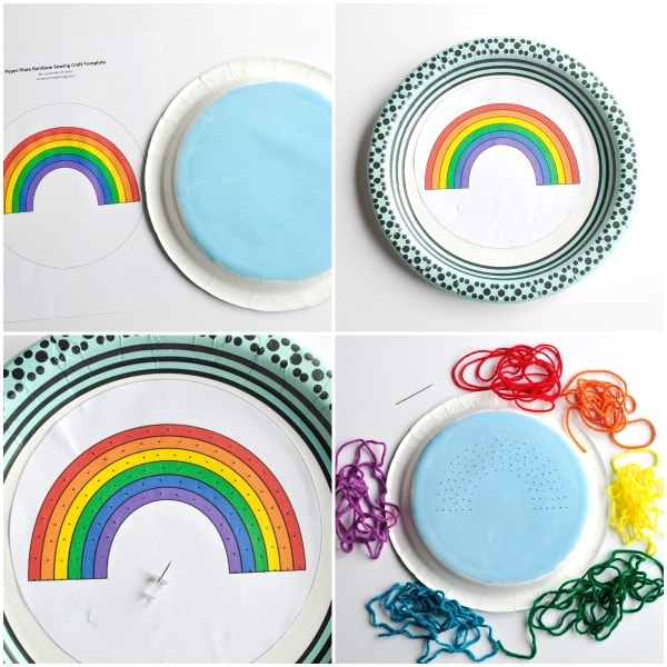 3. Use your push pin and carefully punch holes in the center of every color of your rainbow about a half inch apart. It doesn\u0027t need to be perfect ...  sc 1 st  I Heart Crafty Things & Paper Plate Rainbow Yarn Art Craft | I Heart Crafty Things