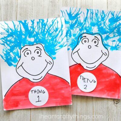 Thing One and Thing Two Blow Painting Dr. Seuss Craft