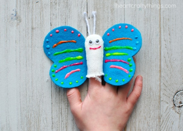 how to make butterfly finger puppets