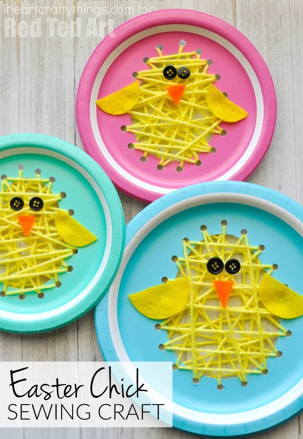 See how we made chicks out of paper doilies balloon st&ed chicks and how to make a cute Easter chick craft out of a foam cup.  sc 1 st  I Heart Crafty Things & Paper Plate Sewing Easter Chick Craft | I Heart Crafty Things