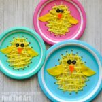 Paper Plate Sewing Easter Chick Craft