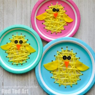 This darling paper plate sewing Easter chick craft is exploding with cuteness. Fun Easter craft for kids, sewing kids craft and spring kids craft.