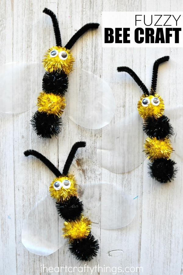 Spring time fuzzy bee craft i heart crafty things for Plastic bees for crafts
