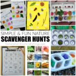 Fun and simple spring nature scavenger hunts for kids, color scavenger hunts for kids and free printable scavenger hunts for kids.