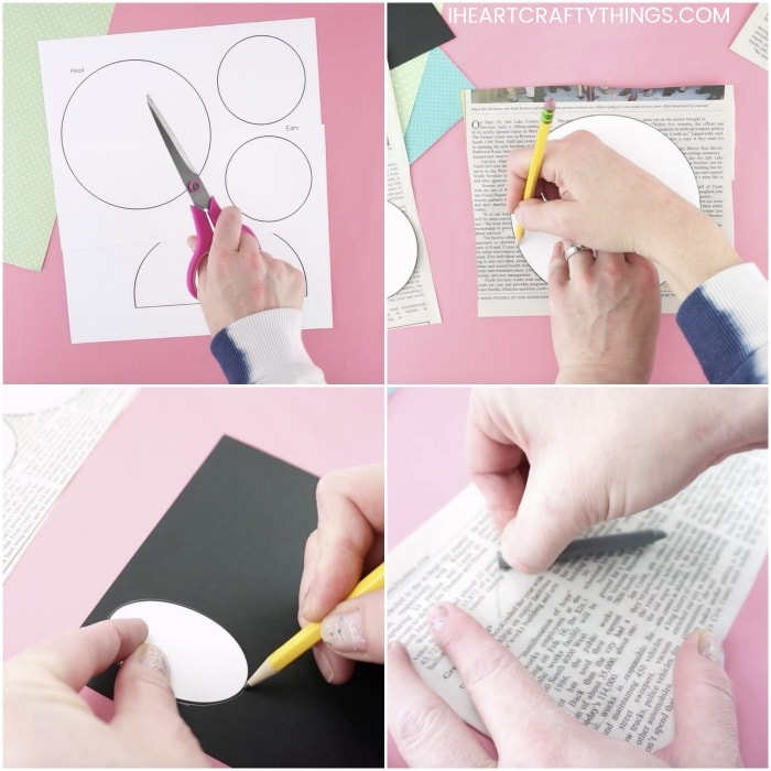 four image collage showing tutorial steps for how to make a newspaper koala craft