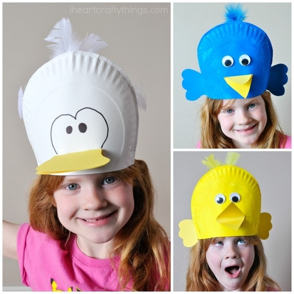 These cute and silly birds scream spring time fun! Kids are going to love getting creative making a silly paper plate bird hat!  sc 1 st  I Heart Crafty Things & Silly Paper Plate Bird Hats Your Kids will Love | I Heart Crafty Things