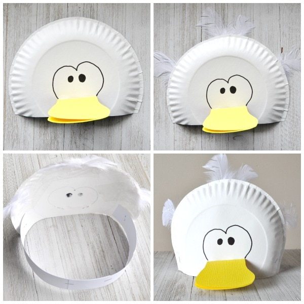 Glue the beak onto your paper plate. Use your black marker to draw eyes on your bird or glue googly eyes onto your paper plate.  sc 1 st  I Heart Crafty Things & Silly Paper Plate Bird Hats Your Kids will Love | I Heart Crafty Things
