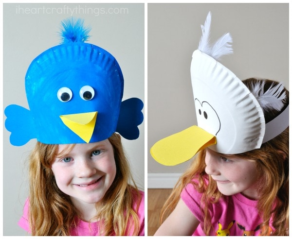 My daughter and I giggled a lot at our cooky white bird. We had intended for it to look like a duck but it kind of reminds me of the seagulls in ...  sc 1 st  I Heart Crafty Things & Silly Paper Plate Bird Hats Your Kids will Love | I Heart Crafty Things