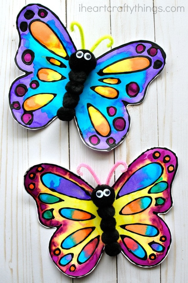 Beautiful Watercolor And Black Glue Butterfly Craft I