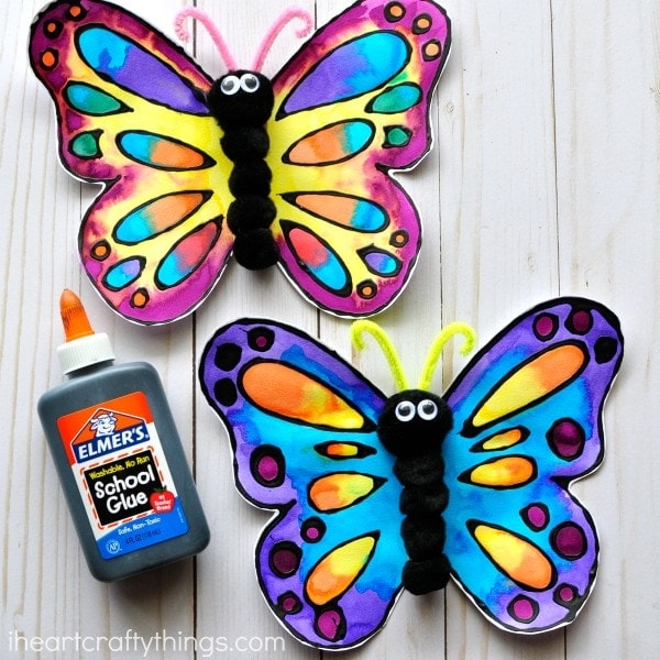 Beautiful watercolor and black glue butterfly craft i for Butterfly art and craft