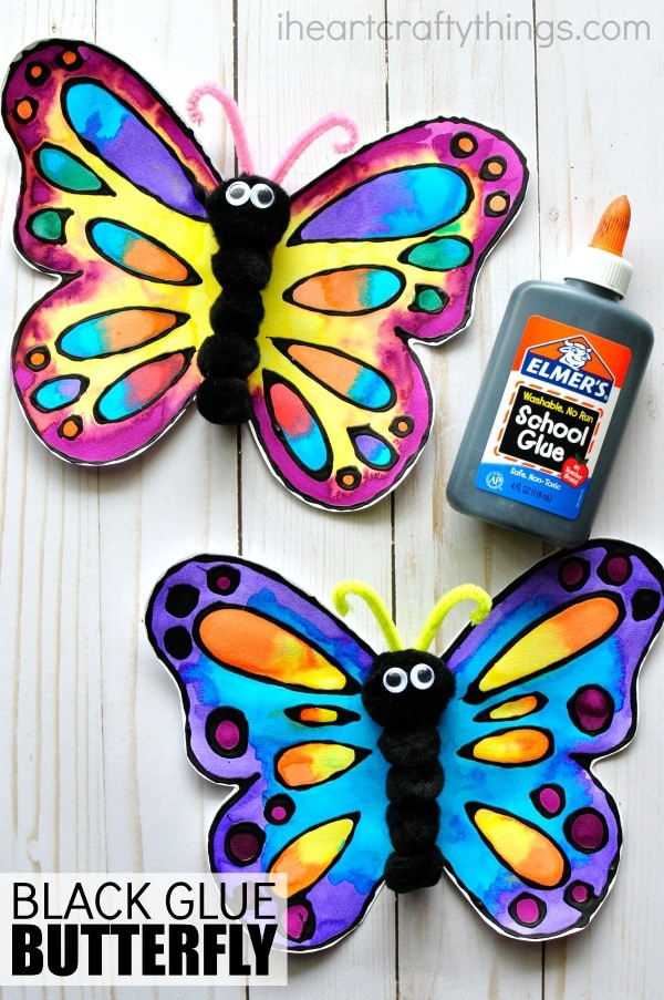 Ordinary Butterfly Craft Ideas For Kids Part - 5: This Watercolor And Black Glue Butterfly Craft Makes A Beautiful Spring Kids  Craft, Art Project For Kids, Butterfly Craft For Kids And Insect Craft.