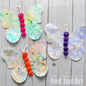 Kids will love creating this bubble blowing art butterfly craft. Fun bubble blowing process art activity for kids and spring kids craft.