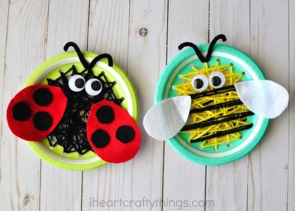 Same Steps We Used For The Bee Except Sew Black Yarn Around Your Paper Plate Instead Of Yellow Then Use Red And Felt To Create Ladybug Wings