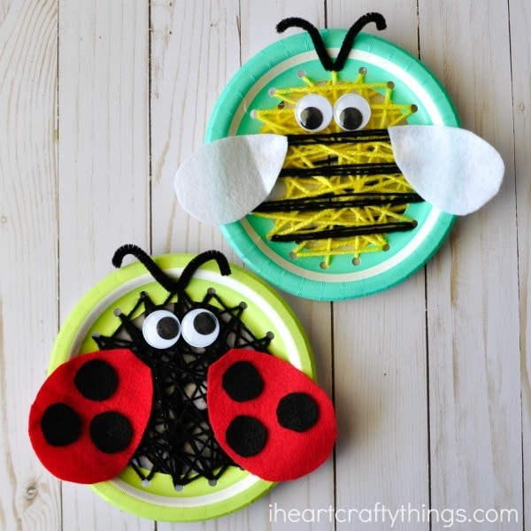 Darling paper plate insect sewing craft for kids that makes a great spring kids craft, sewing crafts for kids and insect craft for kids.