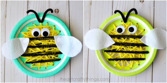 Finish your paper plate insect sewing craft by gluing on your wiggly eyes and felt bee wings with your tacky glue.  sc 1 st  I Heart Crafty Things & Paper Plate Insect Sewing Craft | I Heart Crafty Things