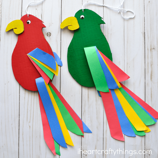Colorful and Fun Twirling Parrot Craft   I Heart Crafty Things