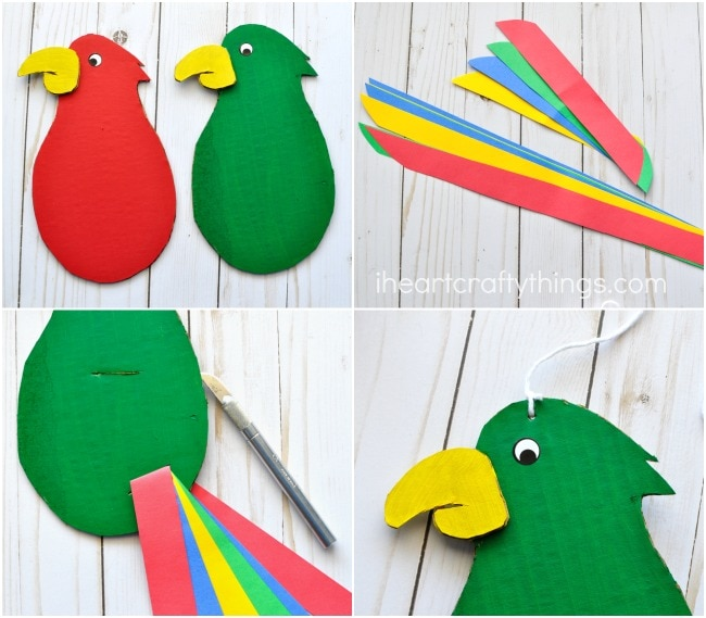 When your parrot is finished drying have an adult cut a 1-inch strip in the center of the the parrot body for the wing feathers and a 1-inch strip at the ...  sc 1 st  I Heart Crafty Things & Colorful and Fun Twirling Parrot Craft | I Heart Crafty Things