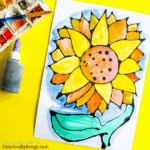 This black glue sunflower craft is an awesome art project for kids, fun summer kids craft, sunflower kid craft and black glue art project.
