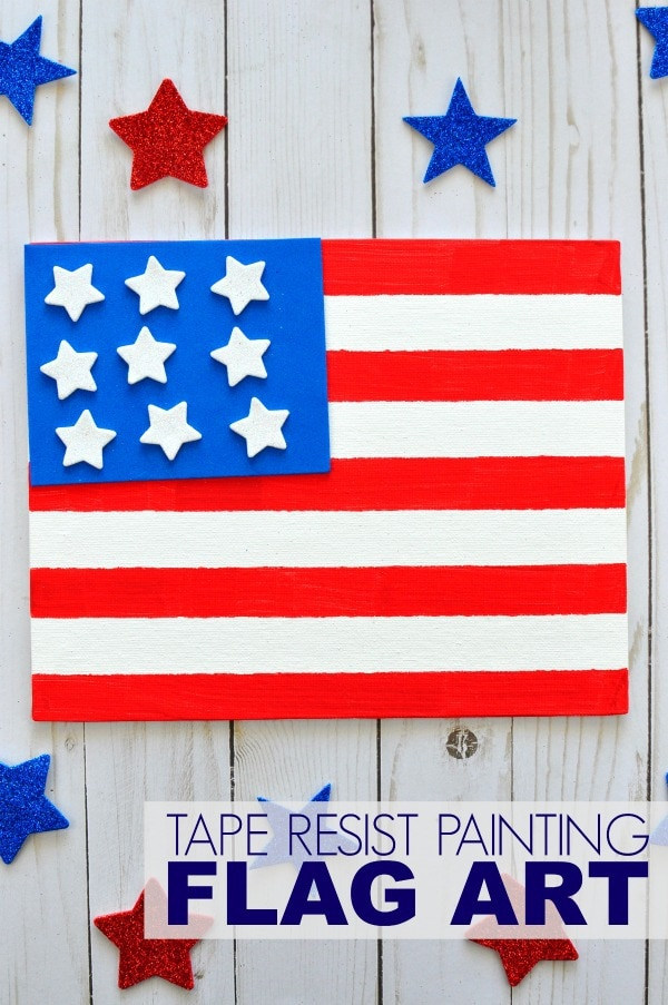 Tape Resist Painting Fourth Of July Craft I Heart Crafty Things