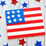 Get toddlers involved in arts and crafts by making this tape resist painting Fourth of July Craft. Fun last minute Fourth of July activities for kids.