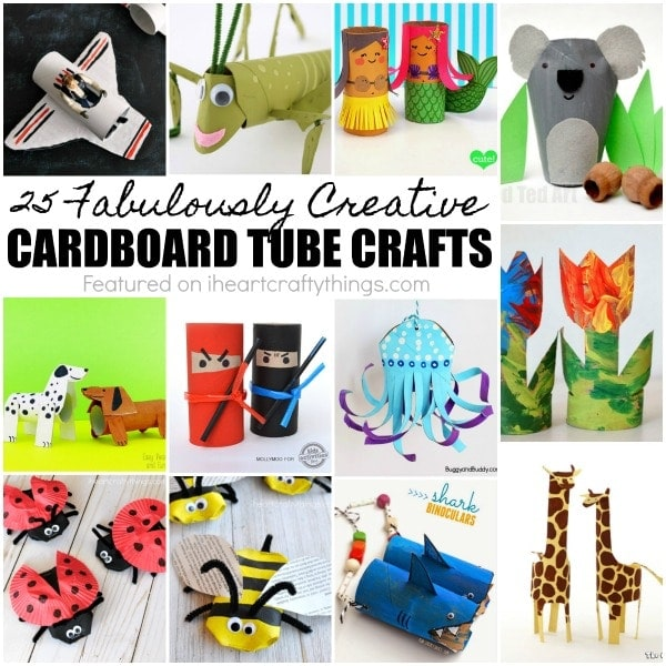 25 creative cardboard tube crafts for kids, fun cardboard roll crafts, TP roll crafts for kids, fun kids crafts with recyclables.