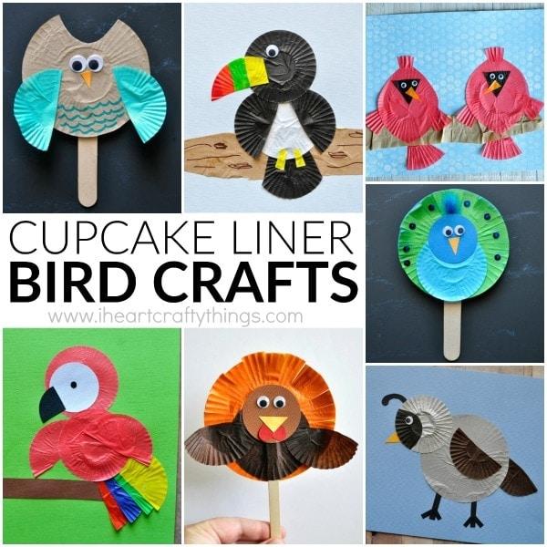 10 awesome cupcake liner bird crafts for kids. Fun cupcake liner crafts for kids, summer kids crafts, preschool bird craft and fun kids crafts.