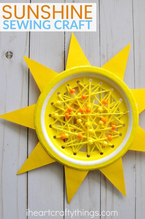 Paper Plate Sun Summer Sewing Craft