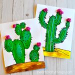 This black glue cactus craft with templates is a great summer kids craft, mixed media art project for kids and summer art projects for kids.
