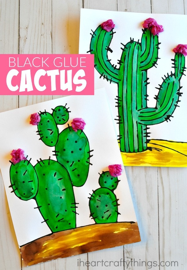 Beautiful Black Glue Cactus Craft I Heart Crafty Things