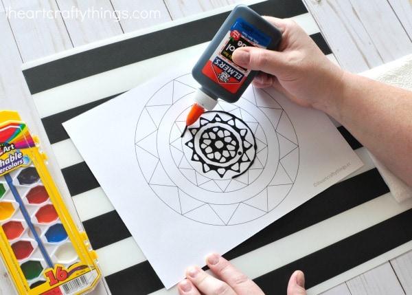 Black Glue Mandala Art Project I Heart Crafty Things