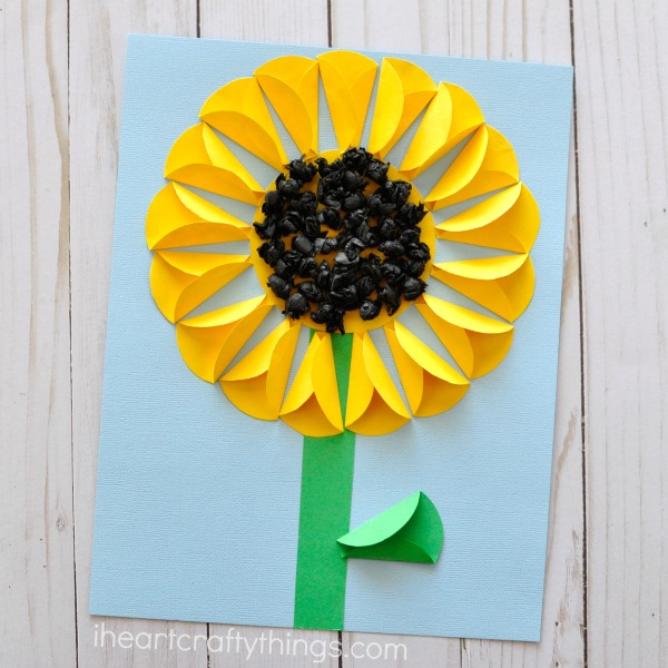 folded paper sunflower craft i heart crafty things. Black Bedroom Furniture Sets. Home Design Ideas