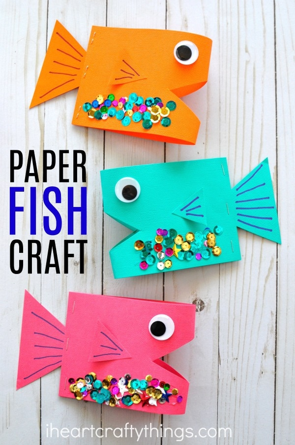 Super cute paper fish craft i heart crafty things for Art and craft books for kids