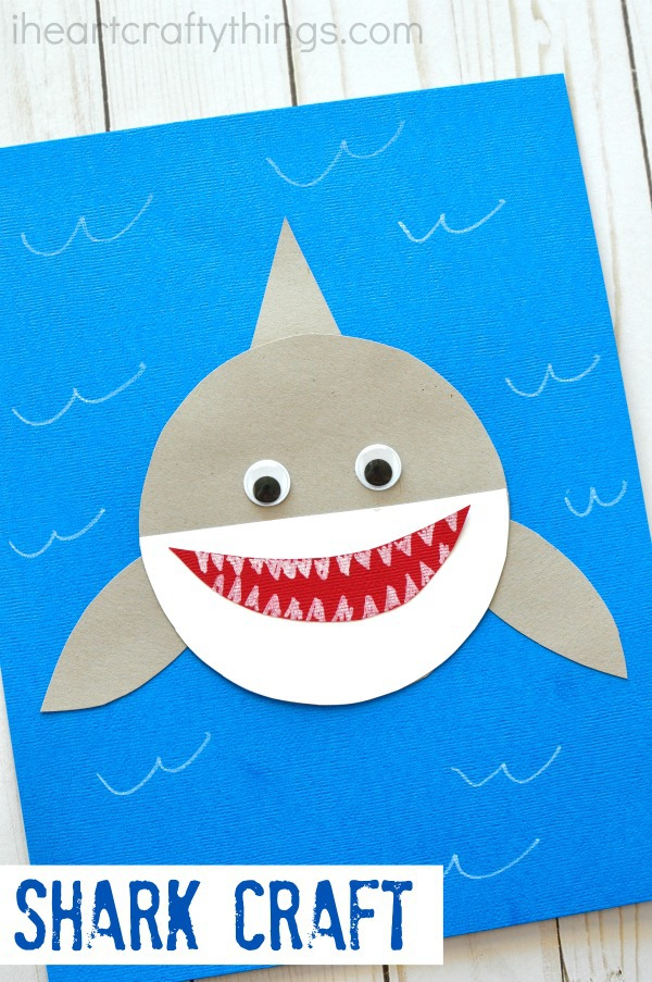 Shark week simple paper shark craft i heart crafty things for Art and craft books for kids