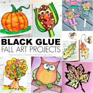 Check out these gorgeous black glue fall art projects kids will love creating. Black glue art, fall crafts for kids, autumn crafts and process art for kids.