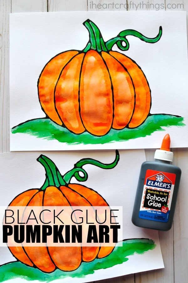 black glue pumpkin art project i heart crafty things