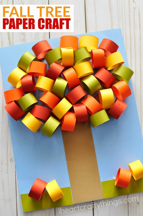 Beautiful fall tree paper craft i heart crafty things for Easy things to make out of paper for kids