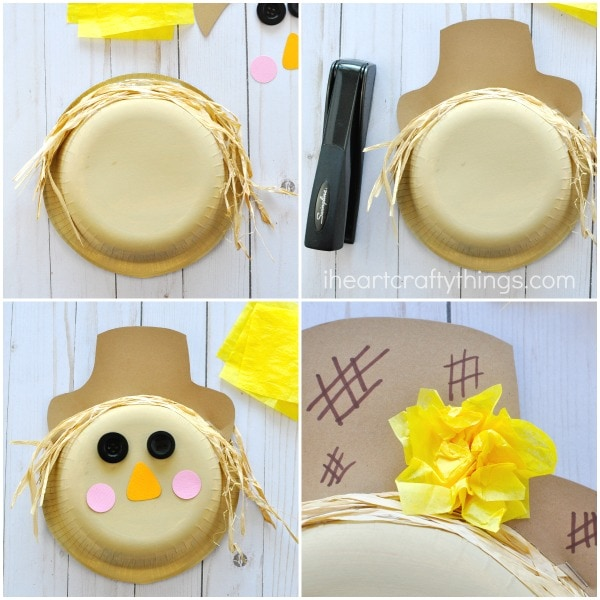 Use a stapler to staple the brown scarecrow hat to the top lip of the paper plate.  sc 1 st  I Heart Crafty Things & Paper Bowl Scarecrow Craft | I Heart Crafty Things