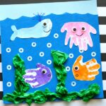 Simple and fun handprint and footprint baby art project. Ocean handprint art for kids, kids handprint crafts, handprint ocean art for kids.