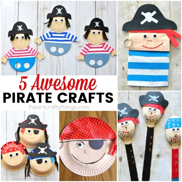 5 awesome pirate crafts for kids, great for a pirate theme unit, talk like a pirate day crafts and activities, fun summer kids craft and summer camp crafts.