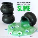 Simple and easy witches brew Halloween slime for kids. Great kid-friendly activity for Halloween parties using Elmer's Slime Start Kit.