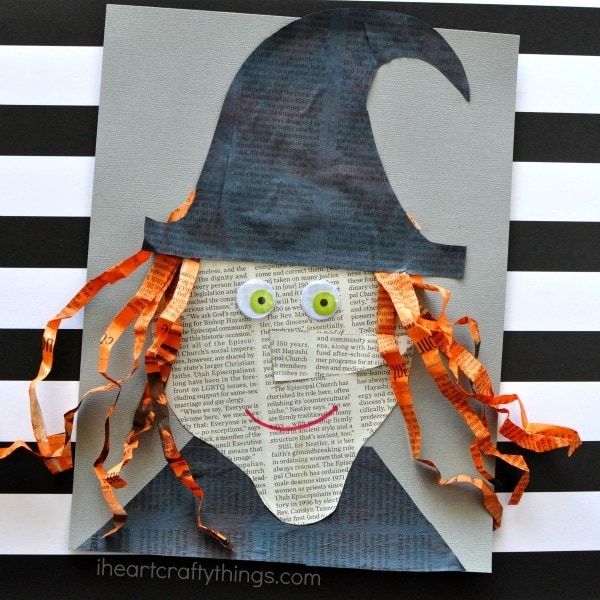 Get crafty this Halloween with this cute newspaper witch craft. Fun Halloween craft, newspaper craft and Halloween kids craft.