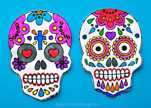 Sugar Skull Black Glue Art Project Beautiful And Fun For All Ages