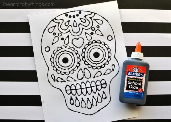 Sugar Skull Black Glue Art Project | I Heart Crafty Things
