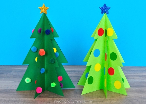 Colorful 3d christmas tree craft i heart crafty things finish your 3d christmas tree craft by adding embellishments around the different sections of the tree get creative with what you have at home sequins solutioingenieria Choice Image