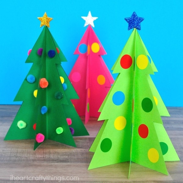 Colorful 3D Christmas Tree Craft | I Heart Crafty Things