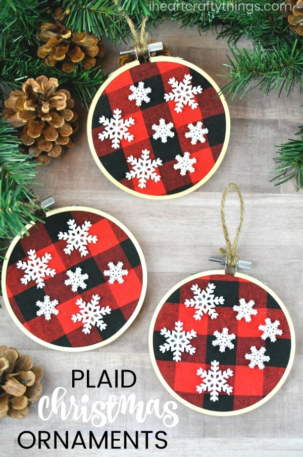 looking for more kid made christmas ornaments ideas head over to follow the 10 days of kid made christmas series over at mama miss where youll find new - Buffalo Plaid Christmas Decor