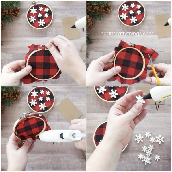 trim the excess fabric on the corners of the buffalo fabric making sure to leave enough to secure it to the back of the embroidery hoop - Buffalo Plaid Christmas Decor