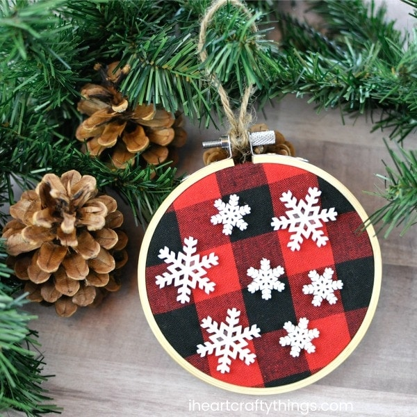 since we love combining arts and crafts with favorite childrens books we found inspiration for this darling buffalo print christmas ornament from the - Red And Black Plaid Christmas Decor