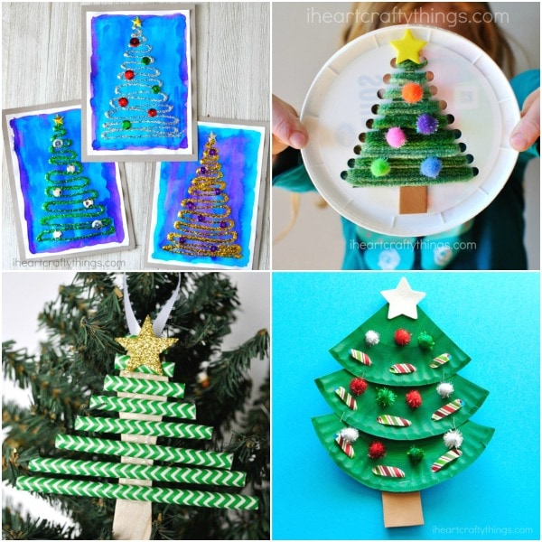Tissue Paper Christmas Trees Winter Art Project Swirly Glue And Glittery Tree Craft