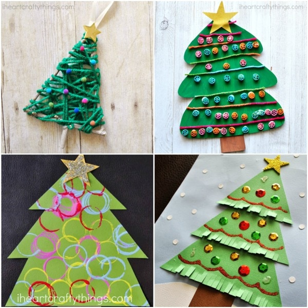 paper plate laced christmas tree craft - Childrens Christmas Tree Decorations